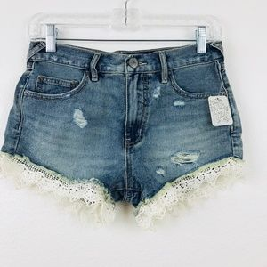 FREE PEOPLE DISTRESSED LACY DENIM SHORTS SIZE 25